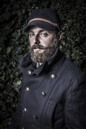 portrait of a stylish man with beard, hipster sailor style Stok Fotoğraf - 34882275