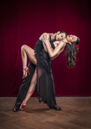 salsa dance: Portrait of young elegant tango dancers.
