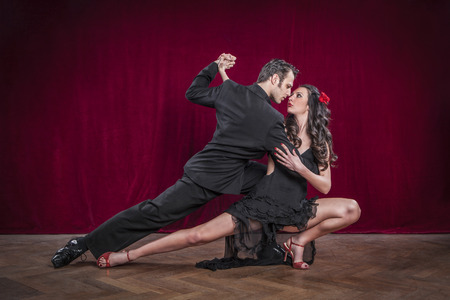 Portrait of young elegant tango dancers.