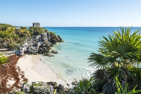tulum: Tulum mayan ruins on the sea  in yucatan mexico Stock Photo