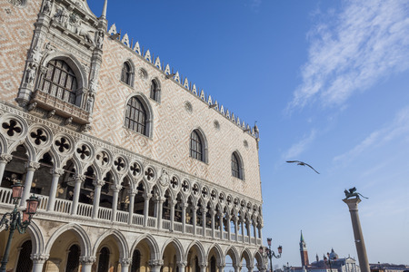 doges: Doges palace (Palazzo Ducale) in San Marco square. Venice. Italy. Stock Photo