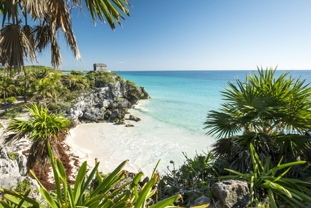 caribbean beach: Tulum mayan ruins on the sea  in yucatan mexico Stock Photo
