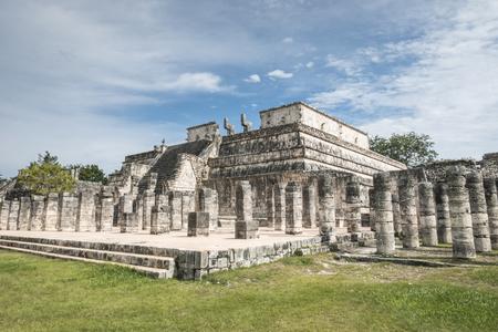 itza: temple of the warrior, chichen itza mayan ruins in mexico Editorial
