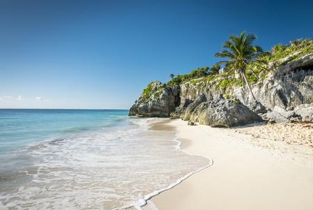 riviera maya: white tropical beach in tulum yucatan mexico