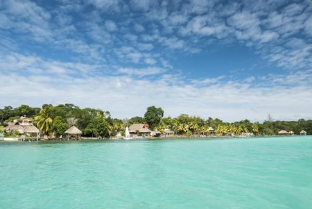 riviera maya: Beautiful view of caribbean lagoon Bacalar. Seven Color water