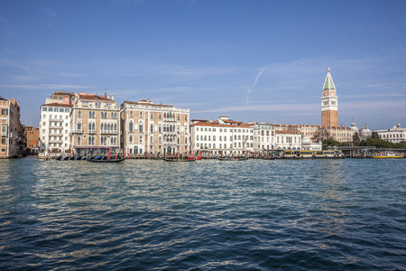 piazza san marco: sea view Piazza San Marco with Campanile and Doge Palace Stock Photo