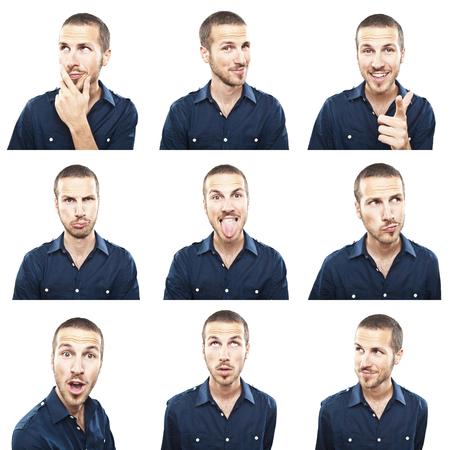 junger Mann Gesicht Ausdrücke Composite-isoliert auf weißem Hintergrund