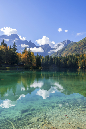 Beautiful mountain lake landscape in autumn, laghi di fusine, italy Stock Photo