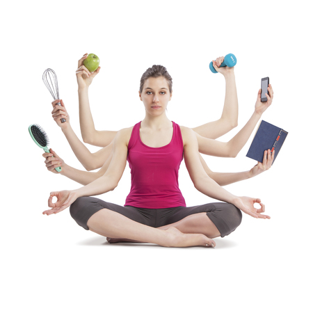 multi tasking woman portrait in yoga position with many arms Stockfoto