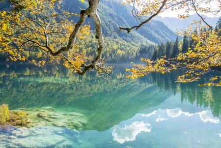mountain landscape: Beautiful mountain lake landscape in autumn, laghi di fusine, italy Stock Photo