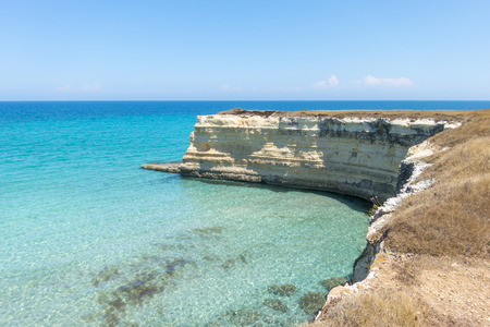 Scenic view of the rocky cliffs in Torre Sant Andrea, Salento, Apulia, Italy Stock Photo