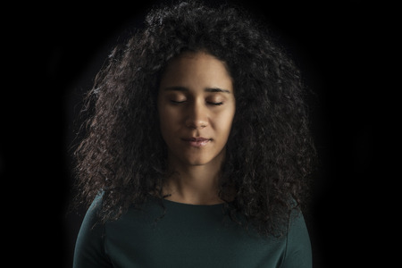 young woman face: Portrait of a young beautiful woman with eyes closed