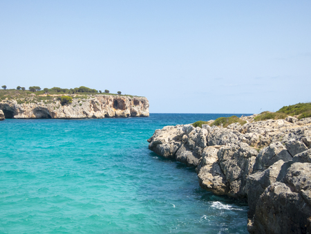 Beautiful seascape, rocky cosat in Majorca island, Mediterranean Sea.