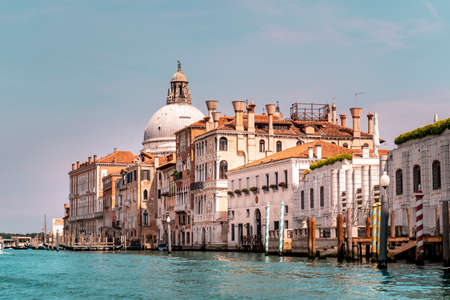 The beautiful city of Venice in Italy seen from the boat.
