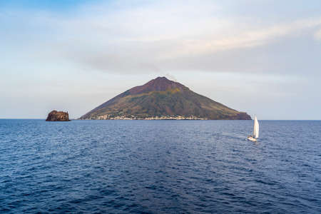 The majestic Eolian island of Stomboli view from the sea, active volcano in Italy Stock fotó