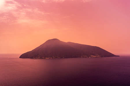Salina in the Aeolian island in Italy at sunset