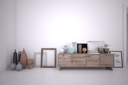 3d rendering interior of a room with wooden sideboard and furnishing accessories Stock Photo