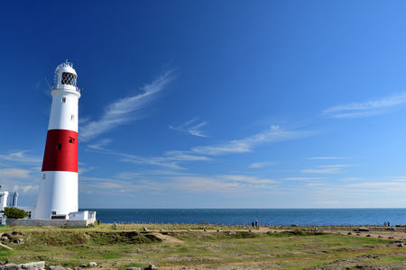 Scenic view of Portland bill lighthouse in Dorest Stock Photo
