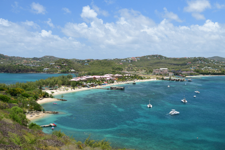 View from the top of Pigeon island of Rodney bay in Saint lucia