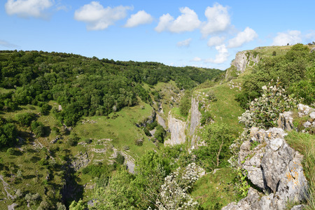 View from the top of Cheddar gorge in Somerset on a sunny day