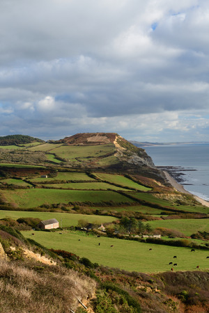 Scenic view of Golden cap mountain in Dorset Imagens