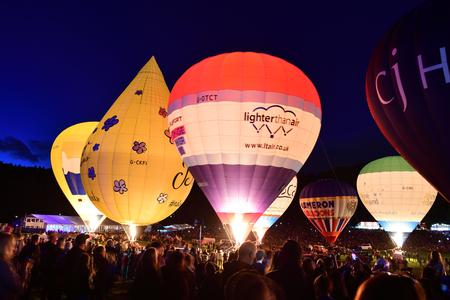 View of hot air balloons during the nightglow at the Bristol international ballon fiesta