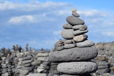Close up of piles of pebbles on the beach at Playa del Castillo at Puerto de la Cruz in Tenerife Stock Photo