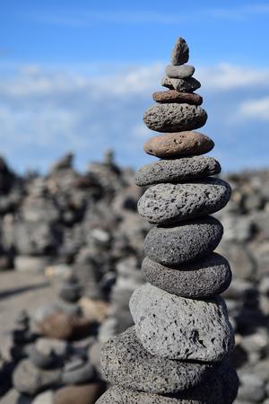 Close up of piles of pebbles on the beach at Playa del Castillo at Puerto de la Cruz in Tenerife Imagens