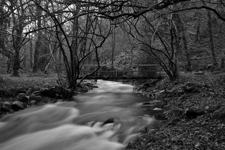 Long exposure of the river flowing under a wooden footbridge in Horner woods in Somerset