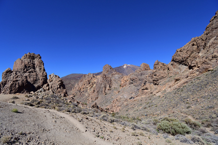 View of rock formations in Teide national park in Tenerife