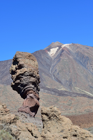 View of Roque Cinchado with Mount Tiede in the background