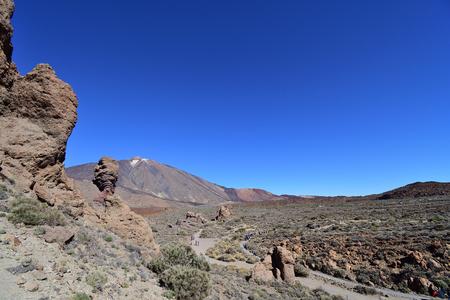 View of Roque Cinchado and Mount Teide in Tenerife