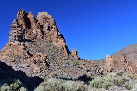 Rock formations in Teide national park in Tenerife Imagens