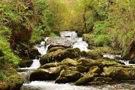 Long exposure of the waterfall at Watersmeet in Devon Imagens