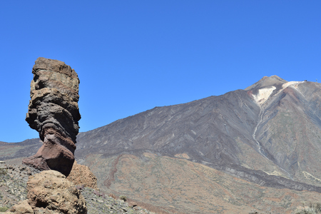 View of Roque Cinchado and Mount Teide in Teide national park in Tenerife Imagens
