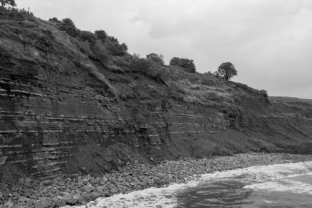 View of the blue lias cliff at Lyme Regis in Dorset which is famous for fossil hunting 写真素材 - 128779624