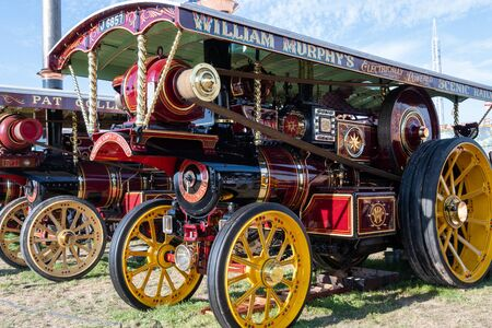 Blandford Forum.Dorset.United Kingdom.August 24th 2019.A row of traction engines is on display at The Great Dorset Steam Fair.