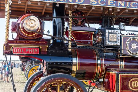 Blandford Forum.Dorset.United Kingdom.August 24th 2019.A row of antique traction engines is on display at The Great Dorset Steam Fair