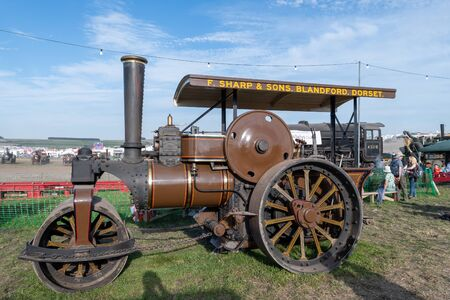 Blandford Forum.Dorset.United Kingdom.August 24th 2019.A steam powered road roller is on display at The Great Dorset Steam fair.
