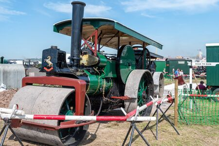 Blandford Forum.Dorset.United Kingdom.August 24th 2019.A vintage Aveling and Porter  steam roller is on display at the great Dorset steam fair.