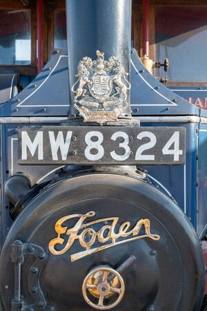 Blandford Forum.Dorset.United Kingdom.August 24th 2019.Close up of the front of a Foden steam powered lorry.