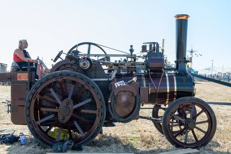 Blandford Forum.Dorset.United Kingdom.August 24th 2019.A vintage traction engine is on display at The Great Dorset Steam Fair. 報道画像