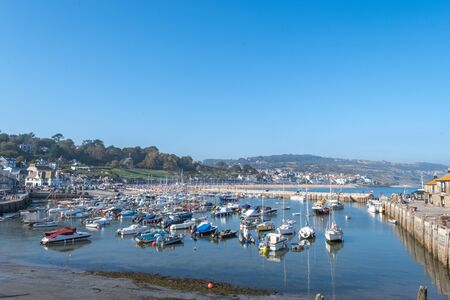 Lyme Regis.Dorset.United Kingdom.August 25th 2019.View of Lyme Regis on a bank holiday weekend