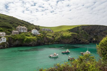 View of the idyllic Cornish fishing village of Port Isaac Stock Photo