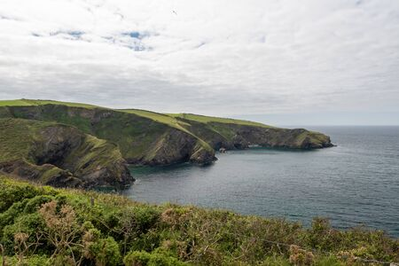 View of the rugged coastline around the fishing village of Port Isaac in Cornwall 写真素材 - 131755460