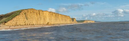 Panoramic photo of the East Cliff at West Bay in Dorset. 写真素材