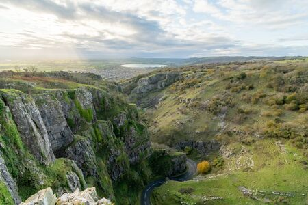 View from the top of Cheddar Gorge in Somerset. Stok Fotoğraf