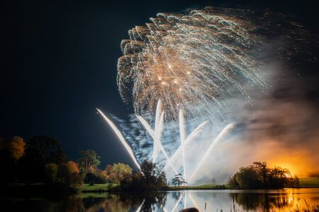 Long exposure of fireworks at Sherborne castle in Dorset