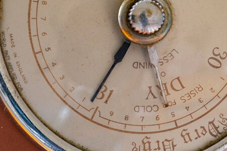Close up of an old antique barometer indicating high pressure and fine weather. Archivio Fotografico