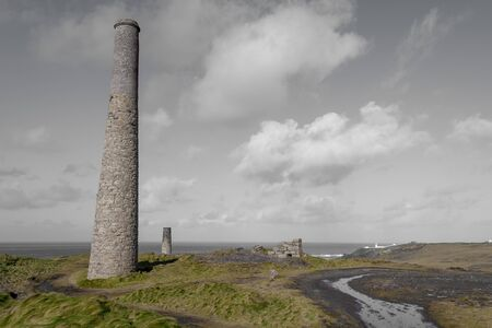 Landscape photo of disused industrial chimneys from the mining industry on the Cornish coast